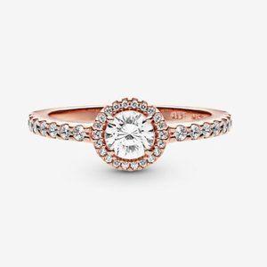 ✨ Classic Sparkle Halo Ring Rose Gold   Pandora